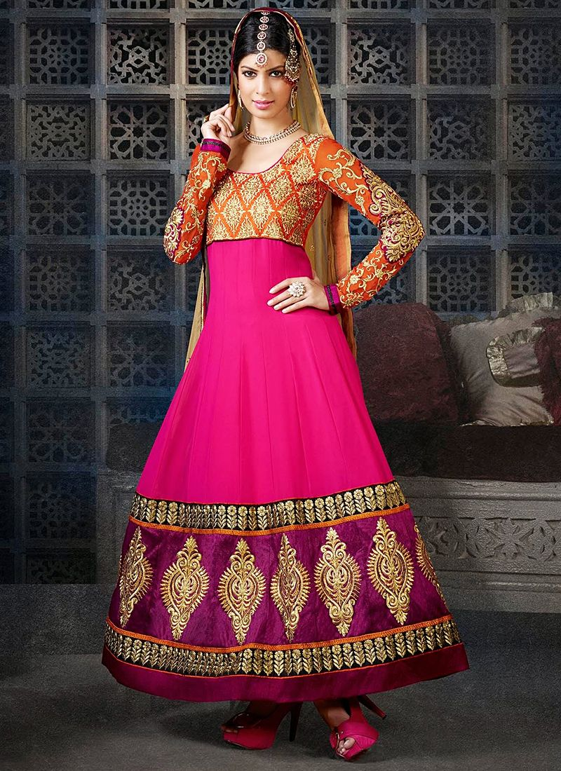 Hot Pink Embroidery Patch Border Work Anarkali Suit