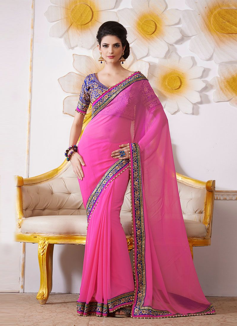Hot Pink Embroidery Work Bamber Designer Saree