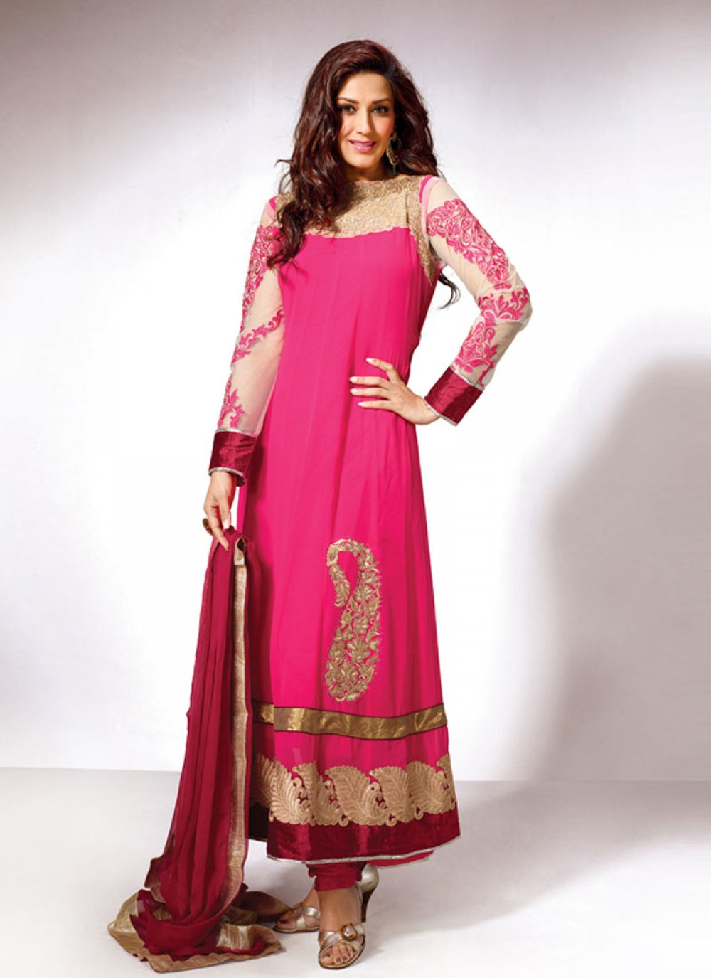 Hot Pink Embroidery Work Georgette Anarkali Suit
