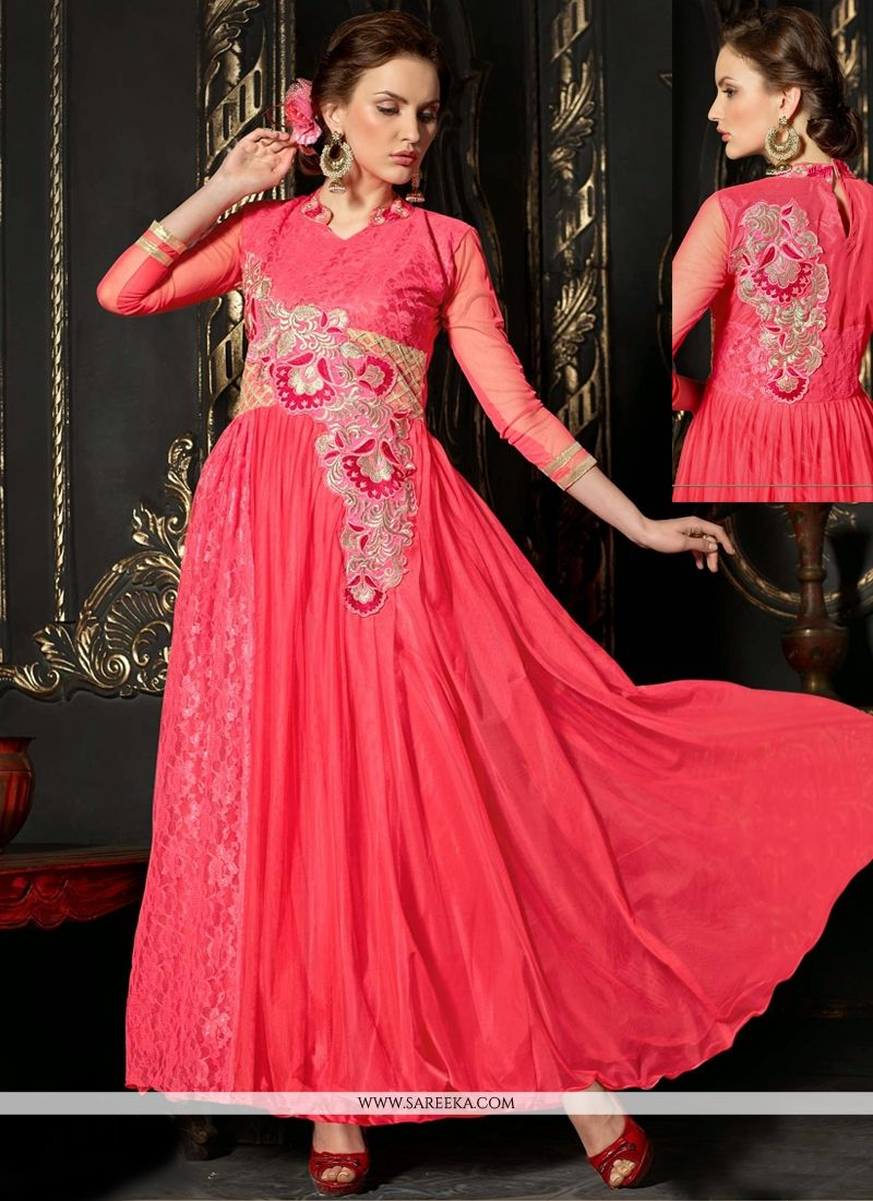 Hot Pink Embroidery Work Net Anarkali Suit