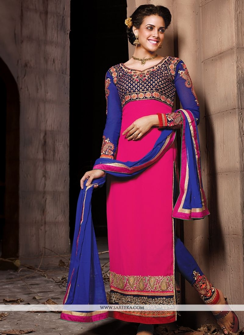 Hot Pink Embroidery Work Pant Style Suit