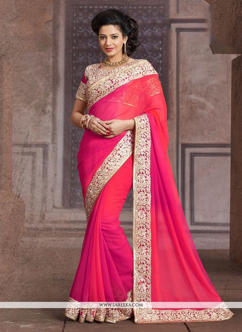 Hot Pink Faux Chiffon Border Work Designer Saree