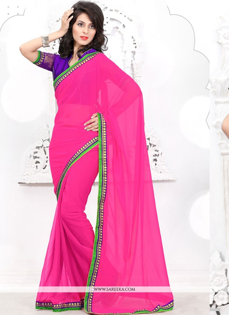Hot Pink Faux Chiffon Casual Saree