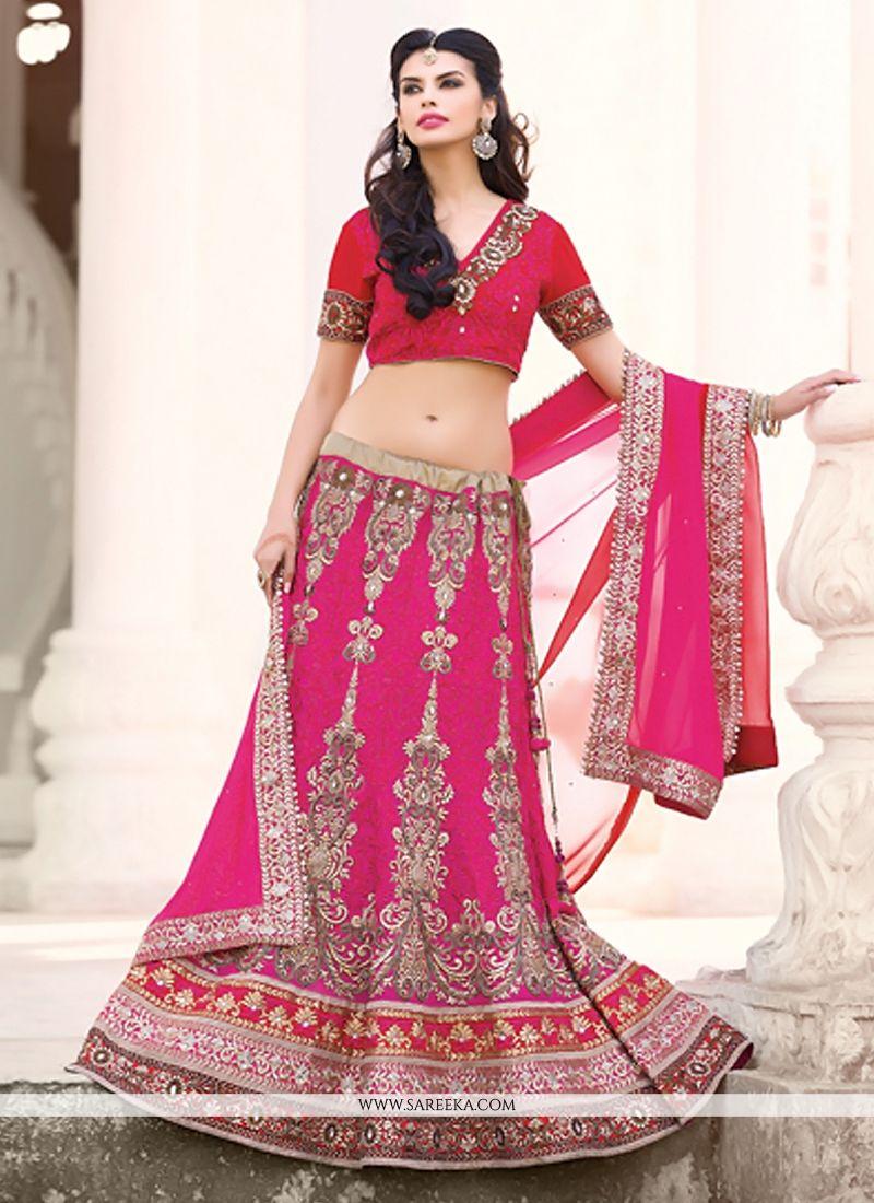 Hot Pink Georgette Designer Lehenga Choli