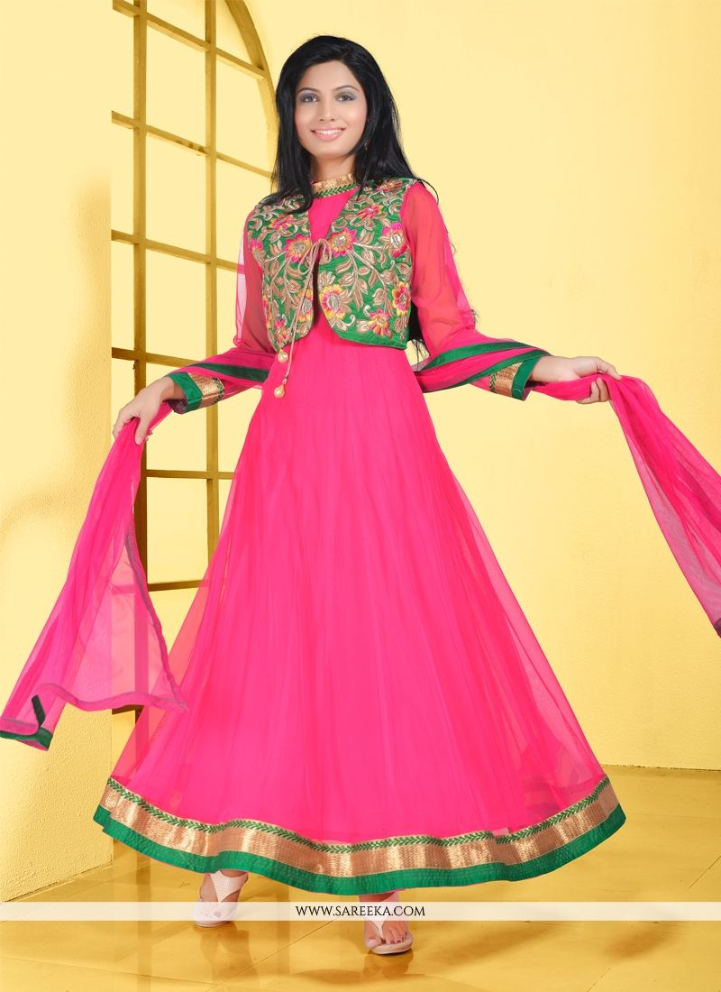 Hot Pink Net Anarkali Suit