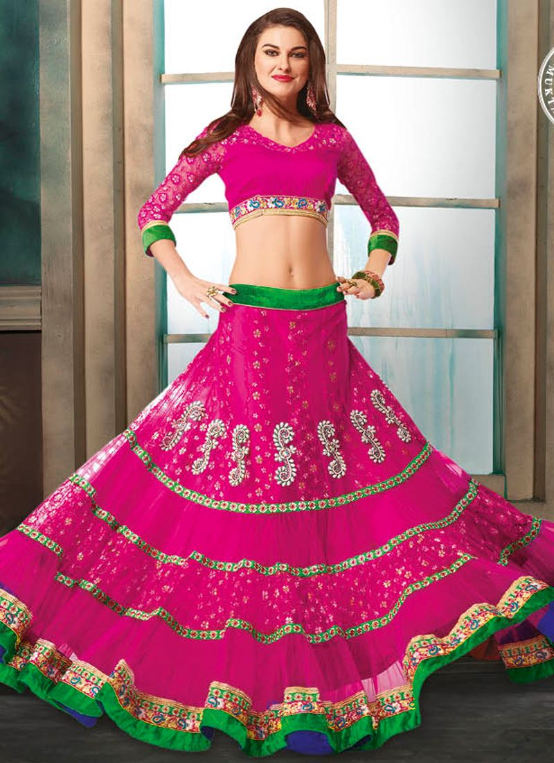 Hot Pink Net And Jacquard Lehenga Choli