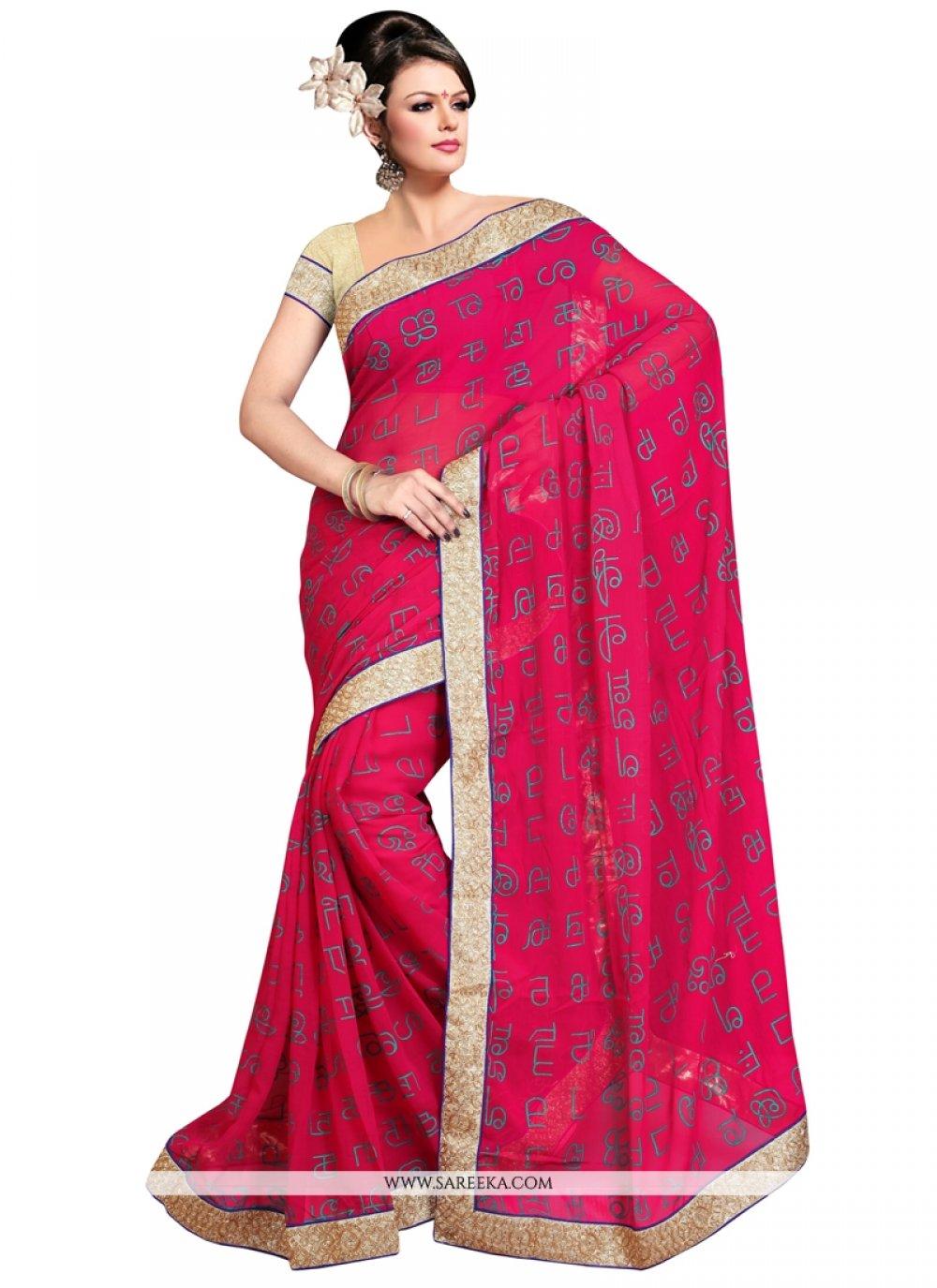 Hot Pink Patch Border Work Faux Chiffon Designer Saree