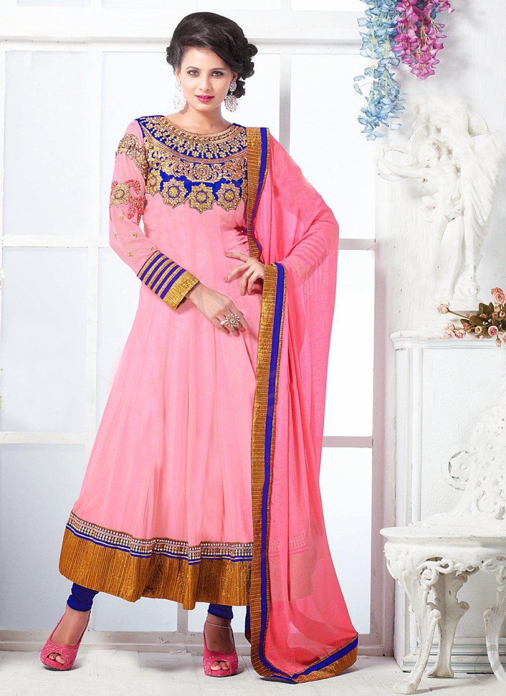 Hot Pink Patch Border Work Faux Georgette Anarkali Suit
