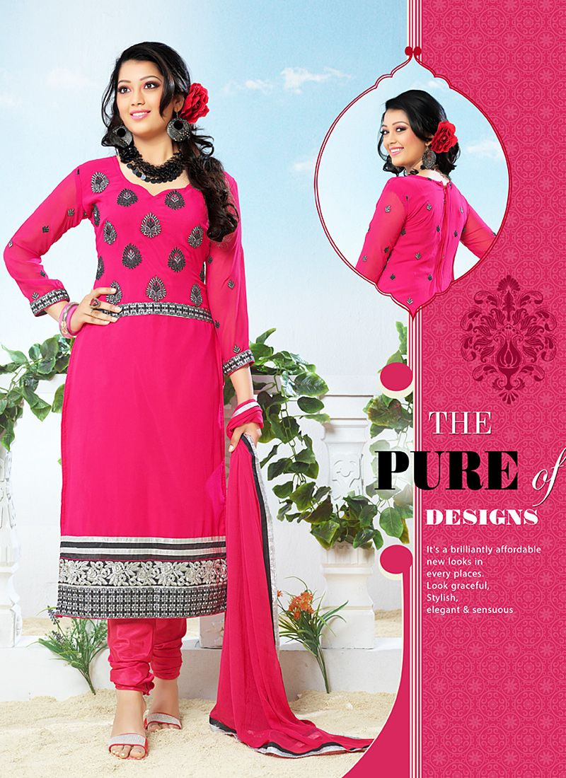 Hot Pink Patch Border Work Georgette Churidar Suit