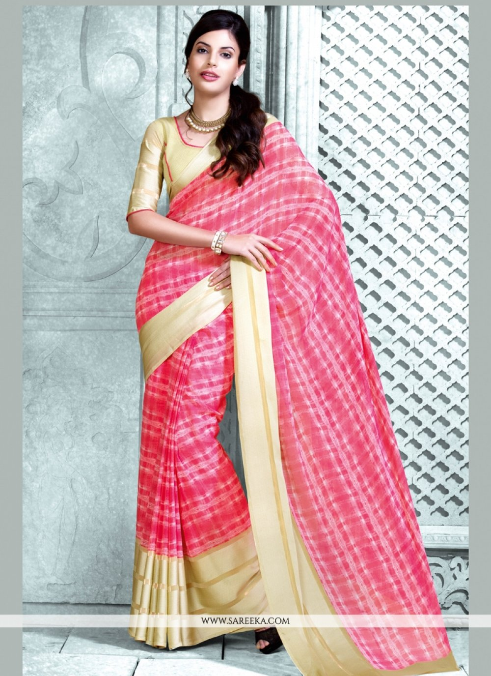 Hot Pink Print Work Georgette Casual Saree