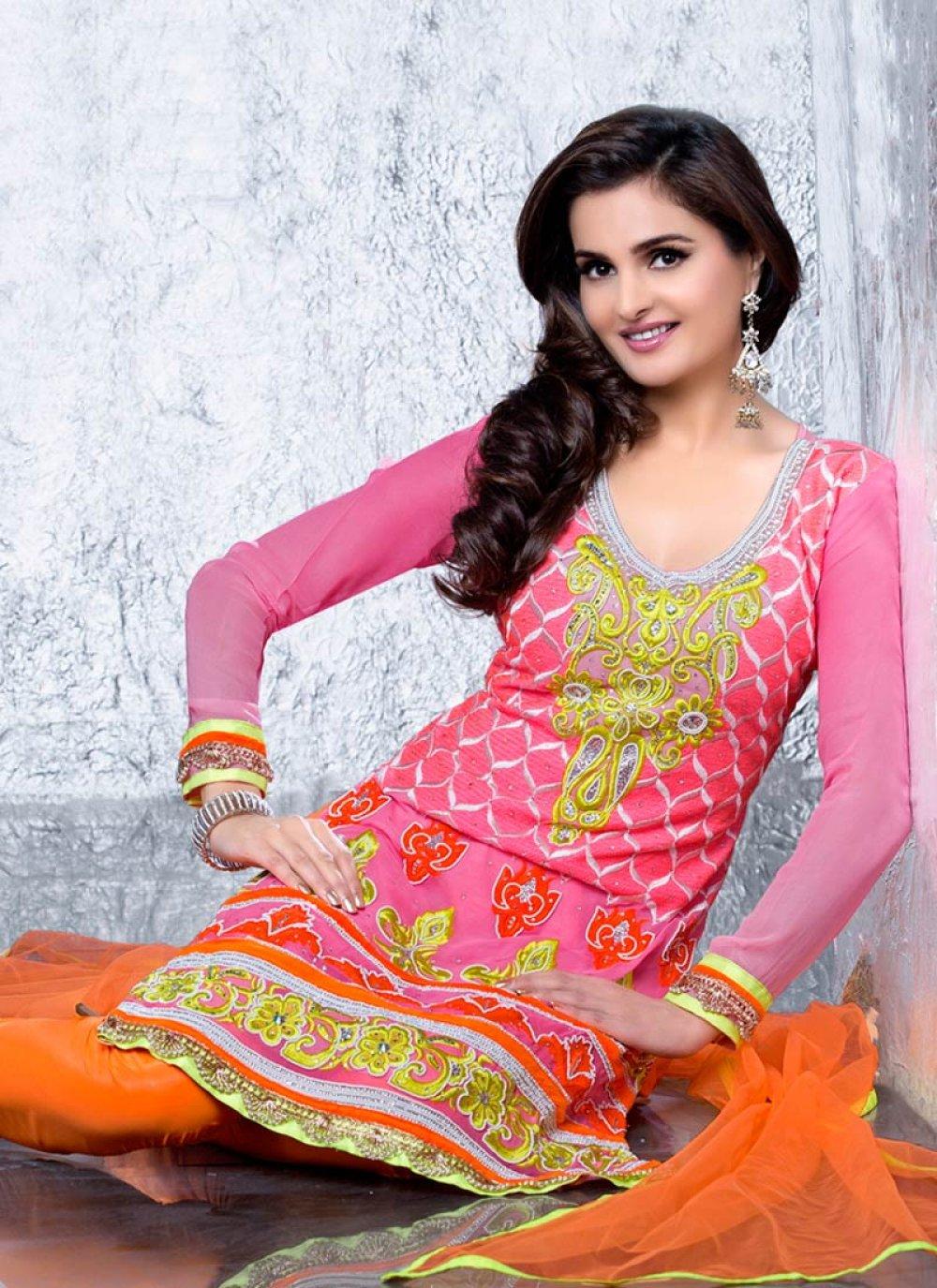 Hot Pink Resham Enhanced Churidar Suit