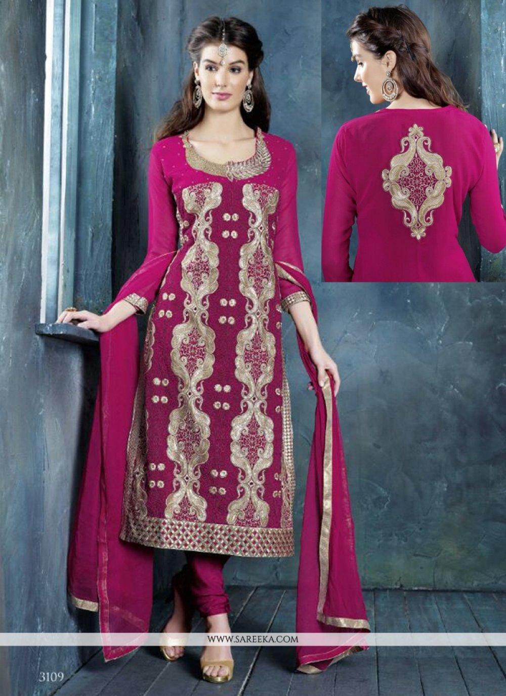 Hot Pink Resham Georgette Churidar Suit