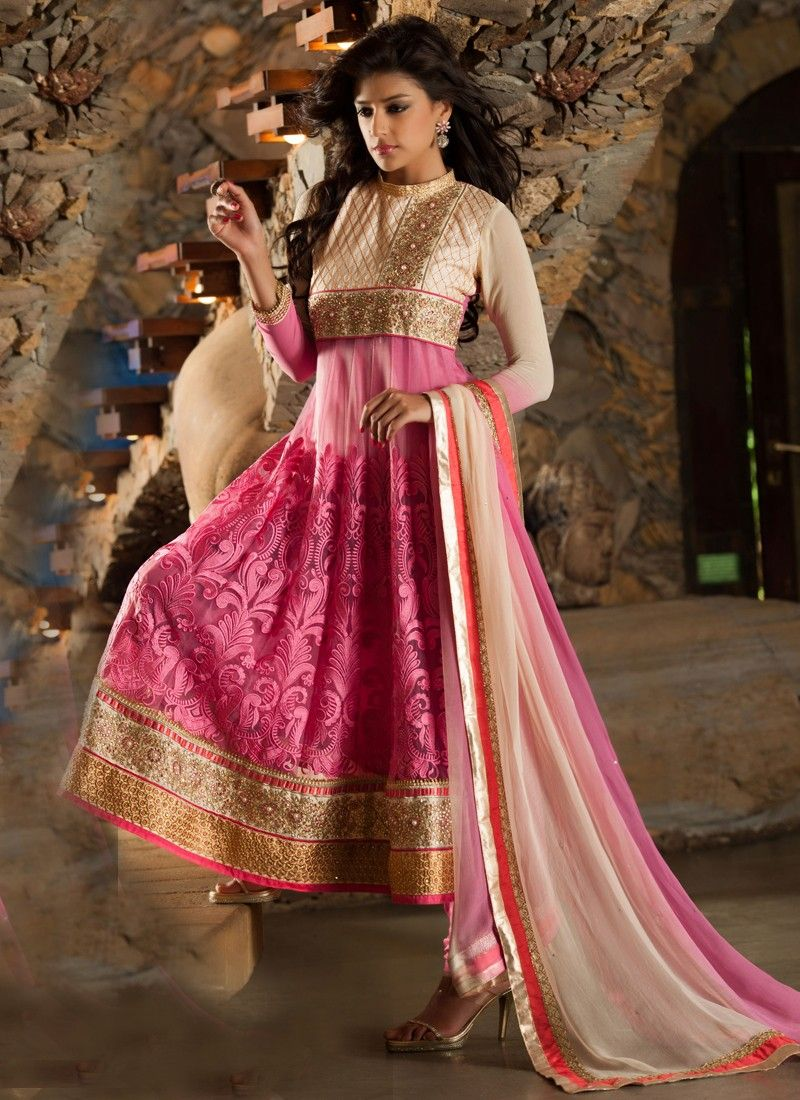 Hot Pink Resham Work Anarkali Suit