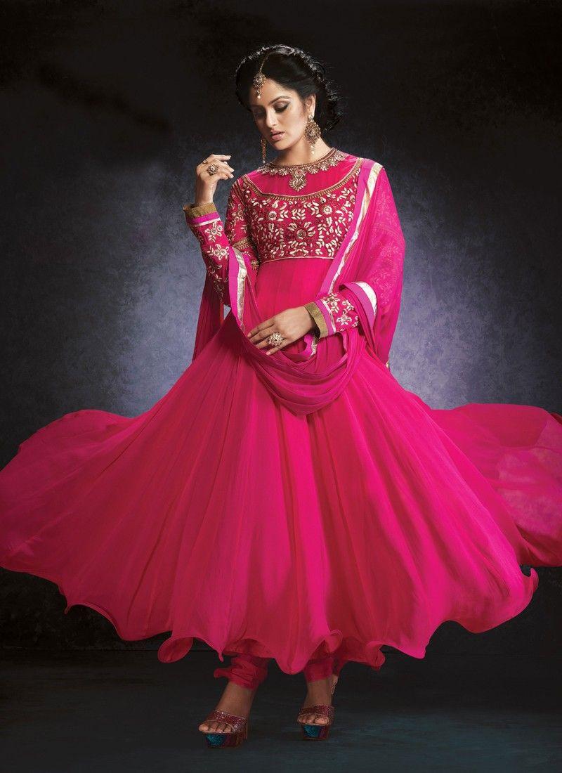 Hot Pink Resham Work Georgette Anarkali Suit