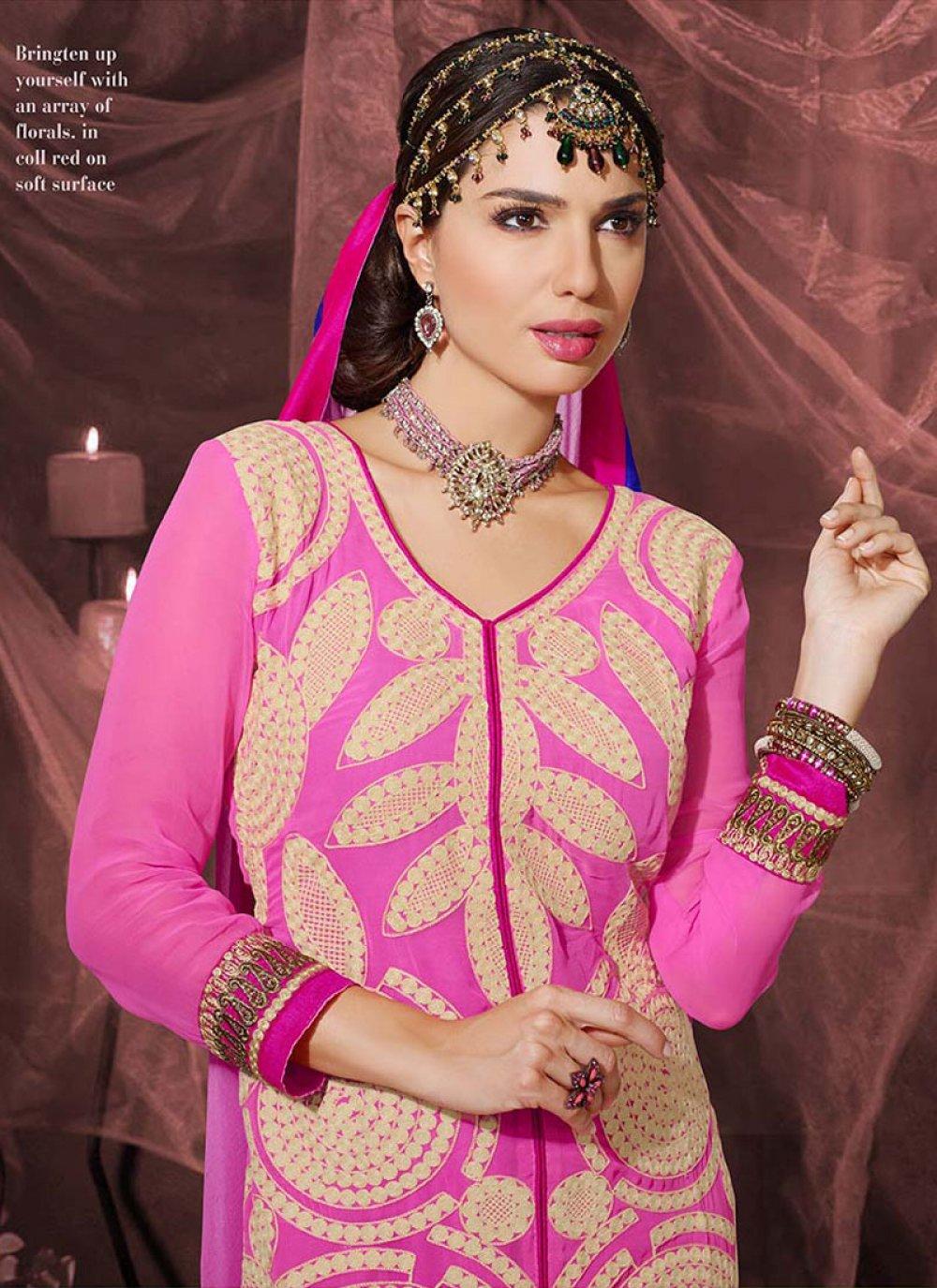 Hot Pink Resham Work Georgette Churidar Salwar Suit