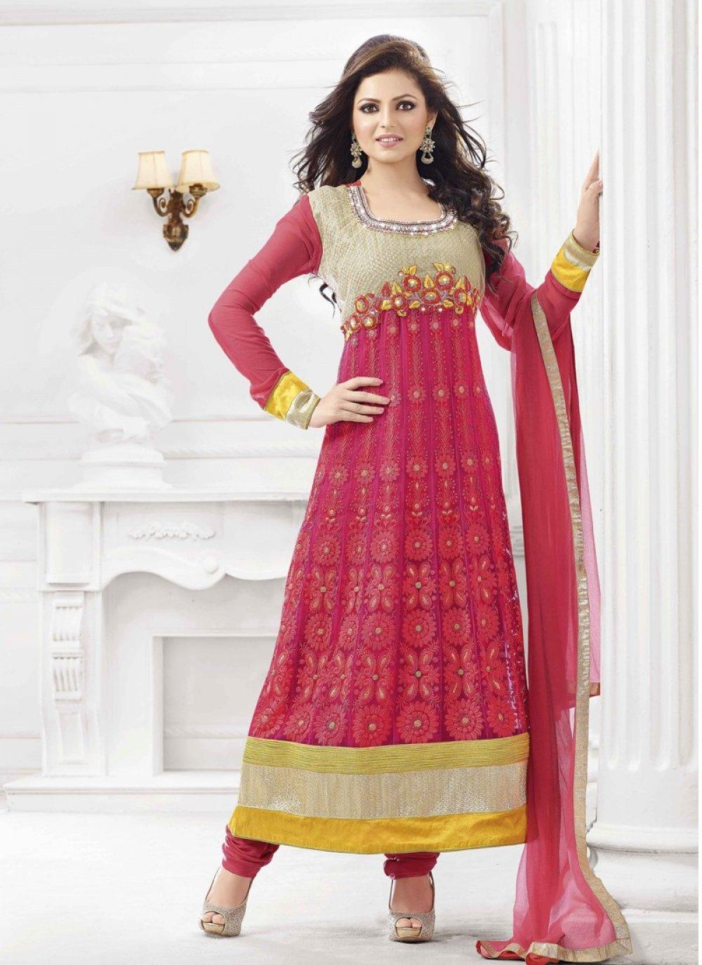Hot Pink Resham Work Net Anarkali Suit