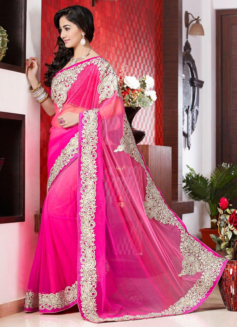 Hot Pink Resham Work Net Designer Saree