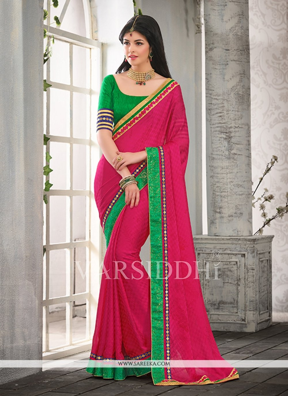 Hot Pink Satin Chiffon Casual Saree