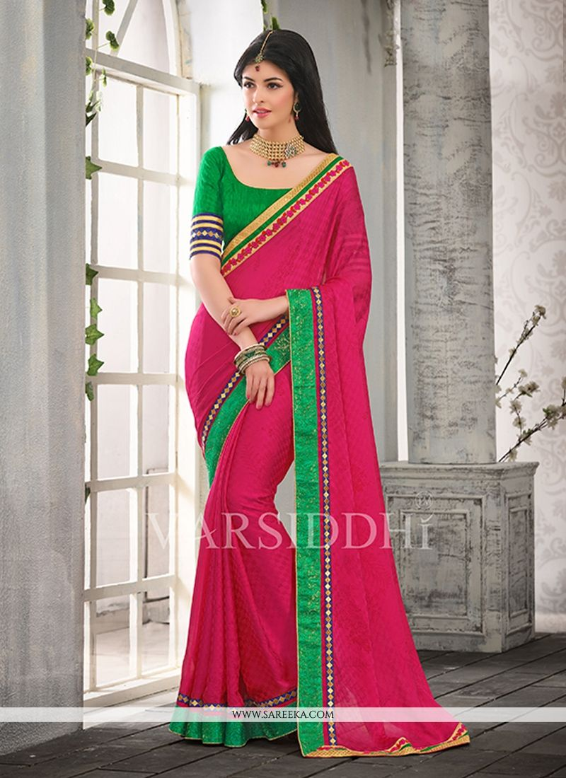 Hot Pink Satin Chiffon Casual Saree