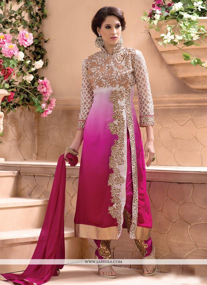 Hot Pink Zari Work Georgette Pant Style Suit