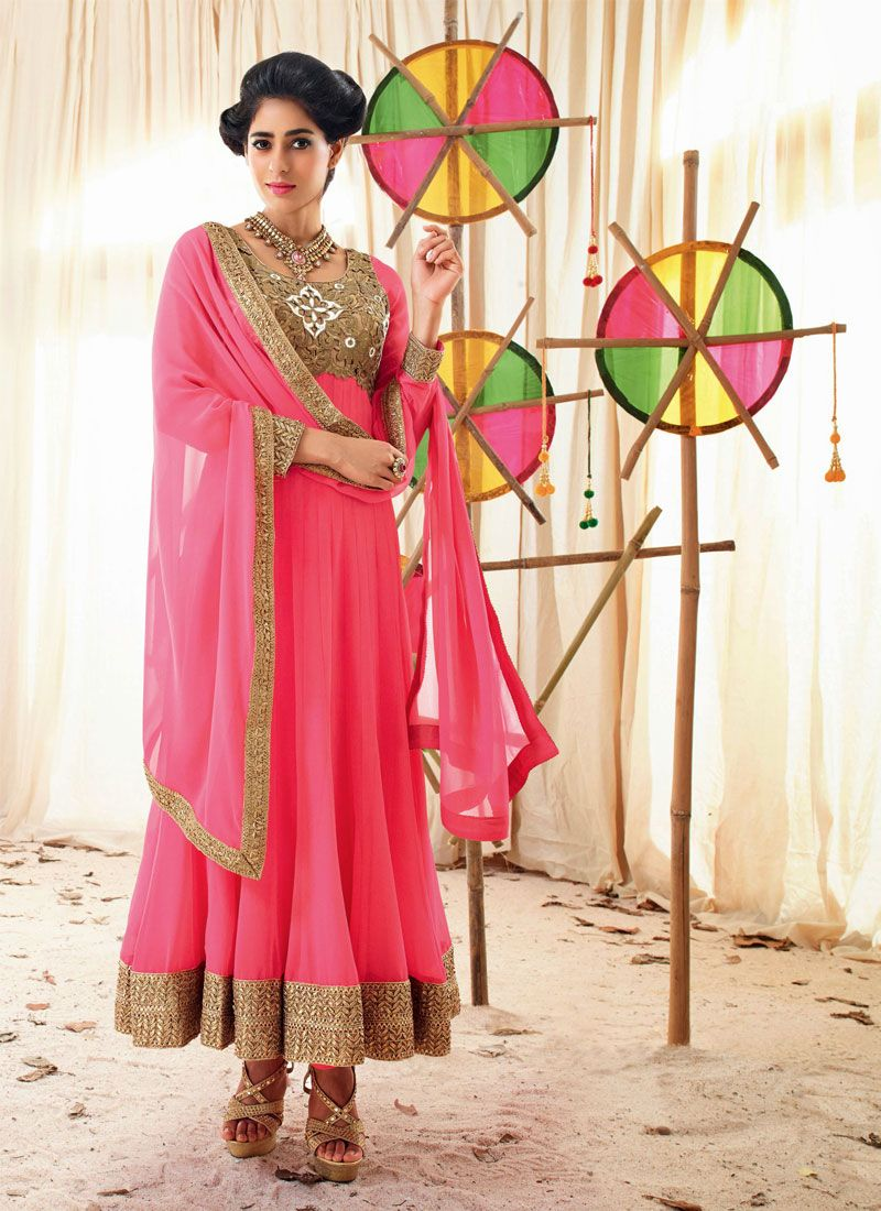 Hot Pink Zari Work Holiday Movie Anarkali Suit