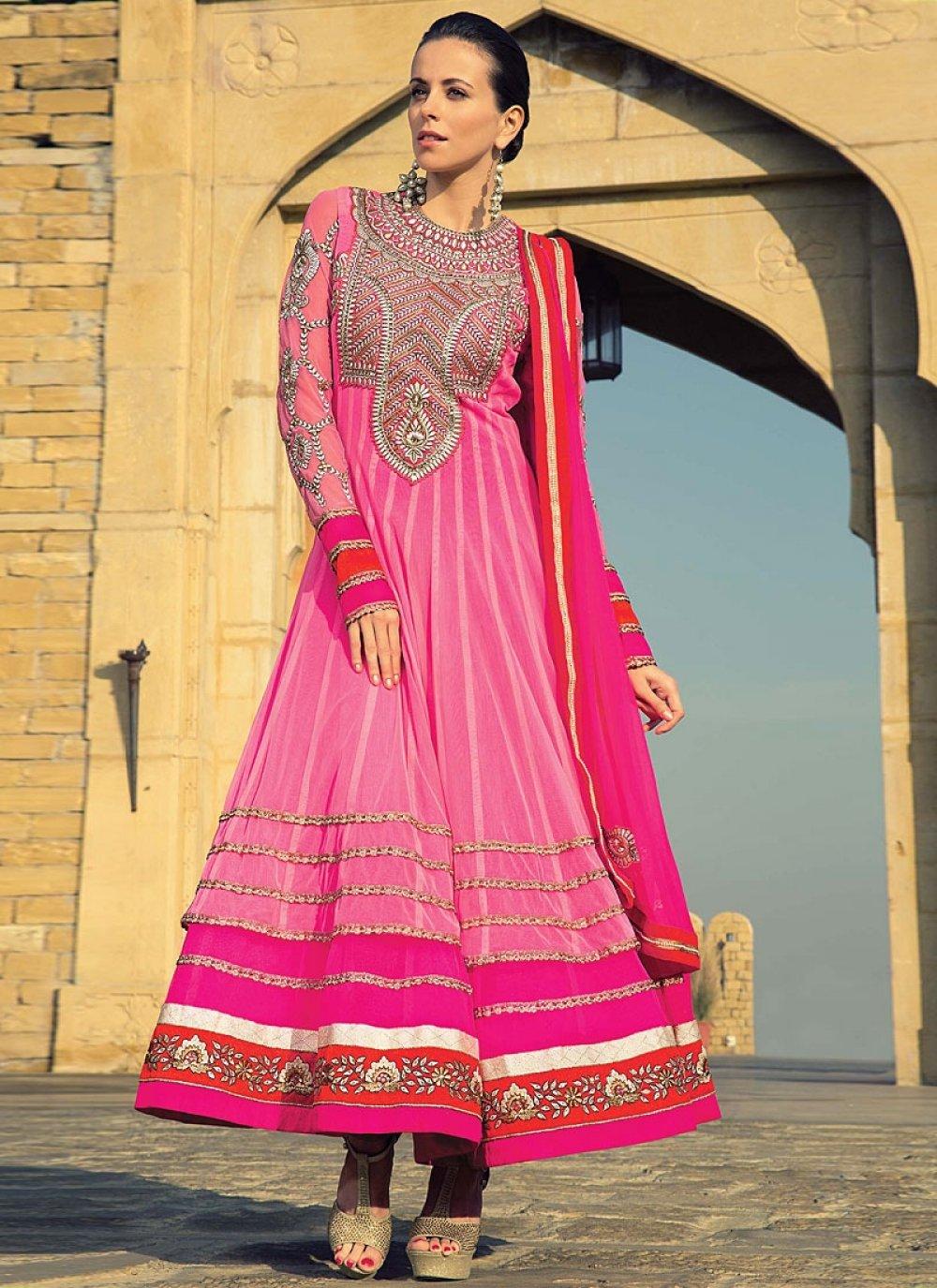 Hot Pink Zari Work Net Anarkali Salwar Suit