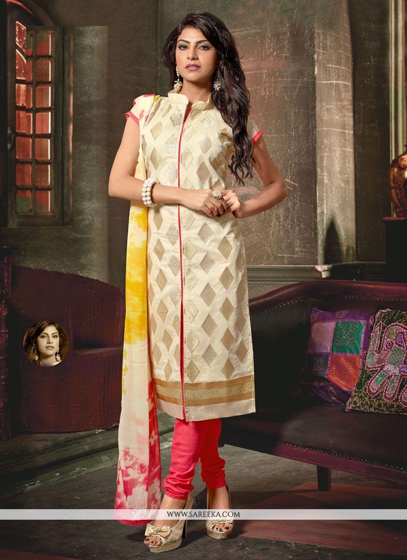 Cream Chanderi Churidar Designer Suit