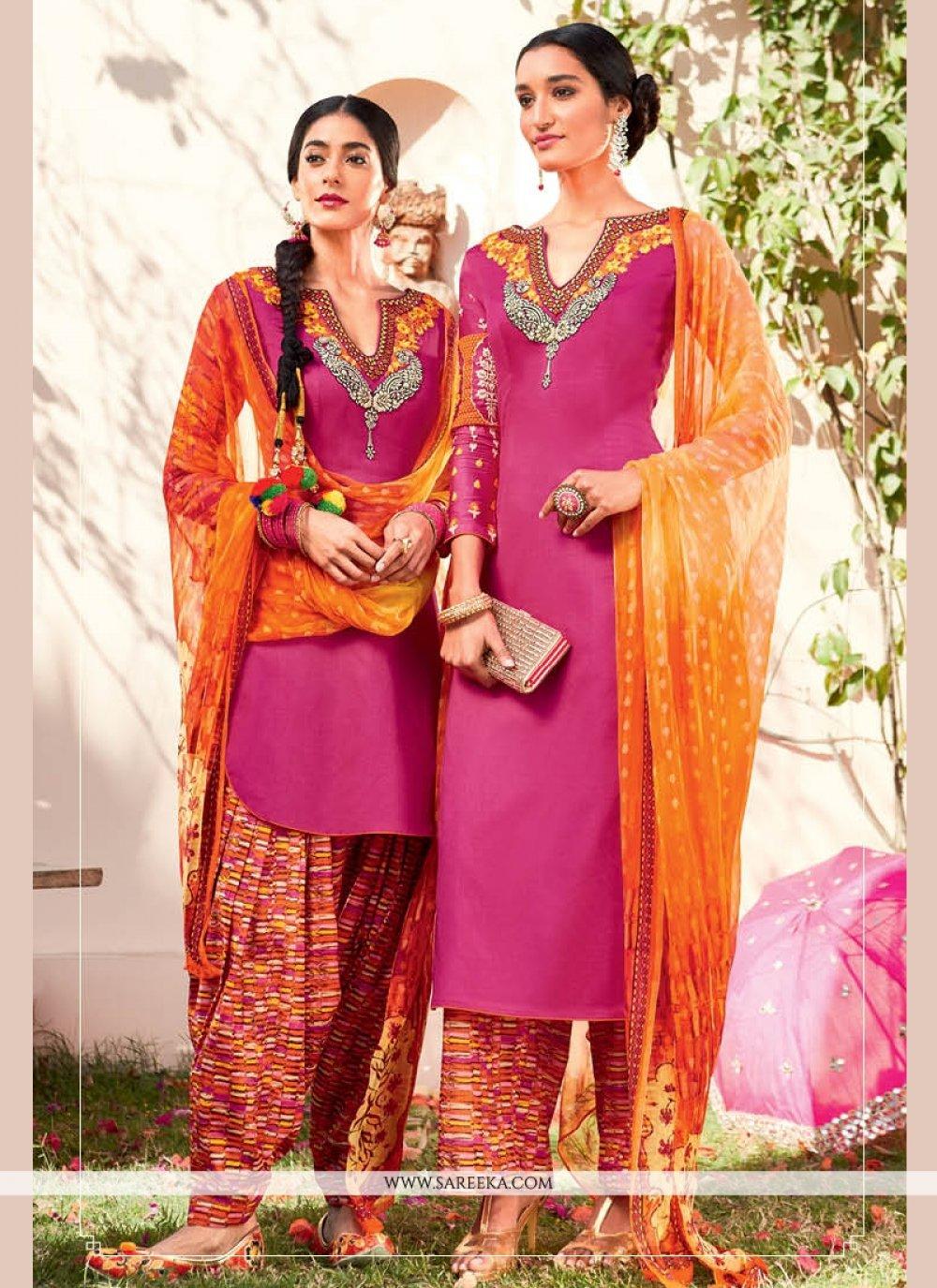 Embroidered Work Cotton Satin Designer Suit