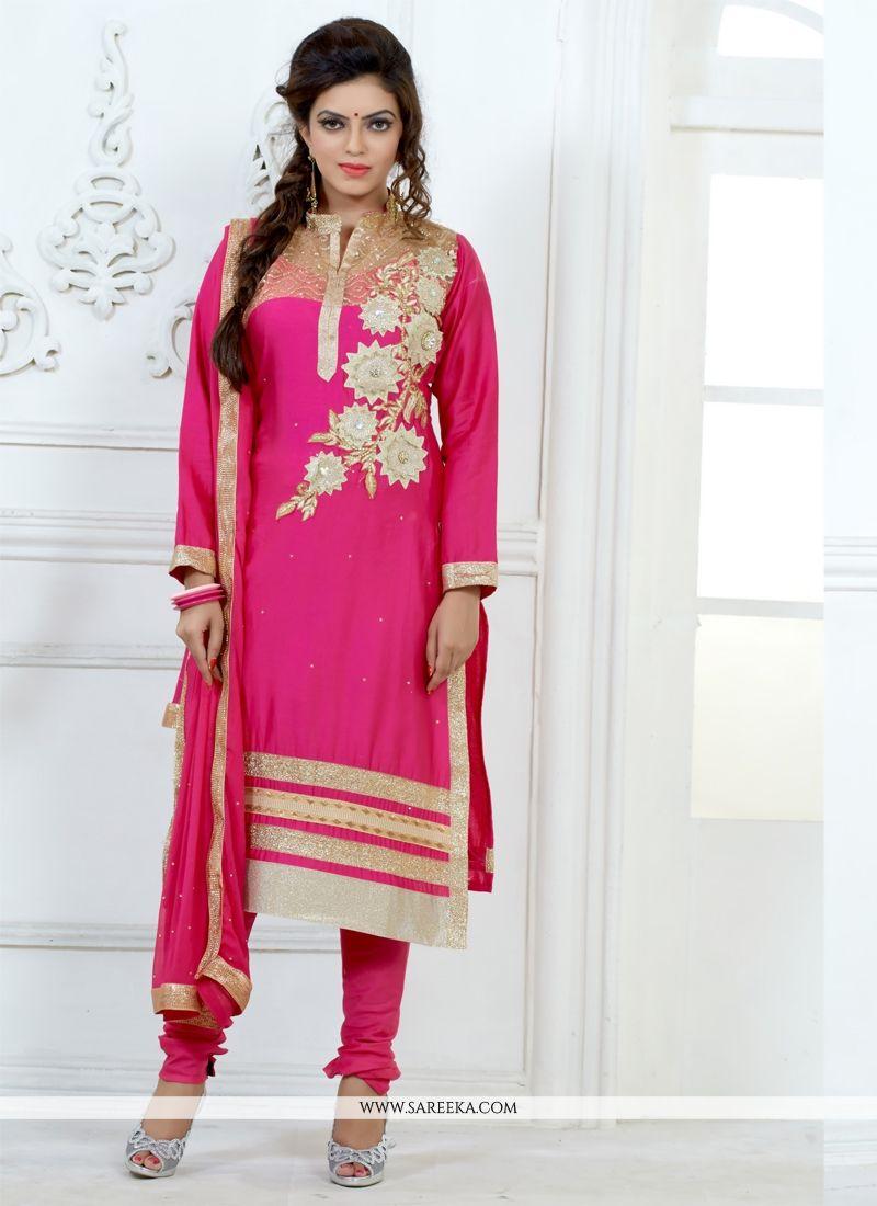Hot Pink Resham Work Churidar Salwar Suit
