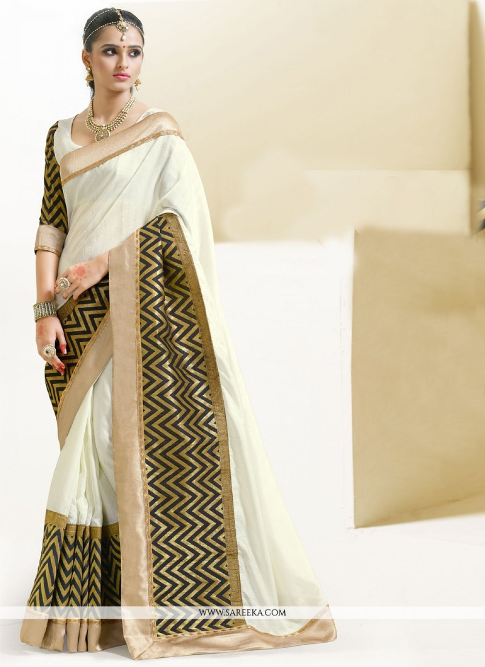 Lace Work Cream Art Silk Designer Saree