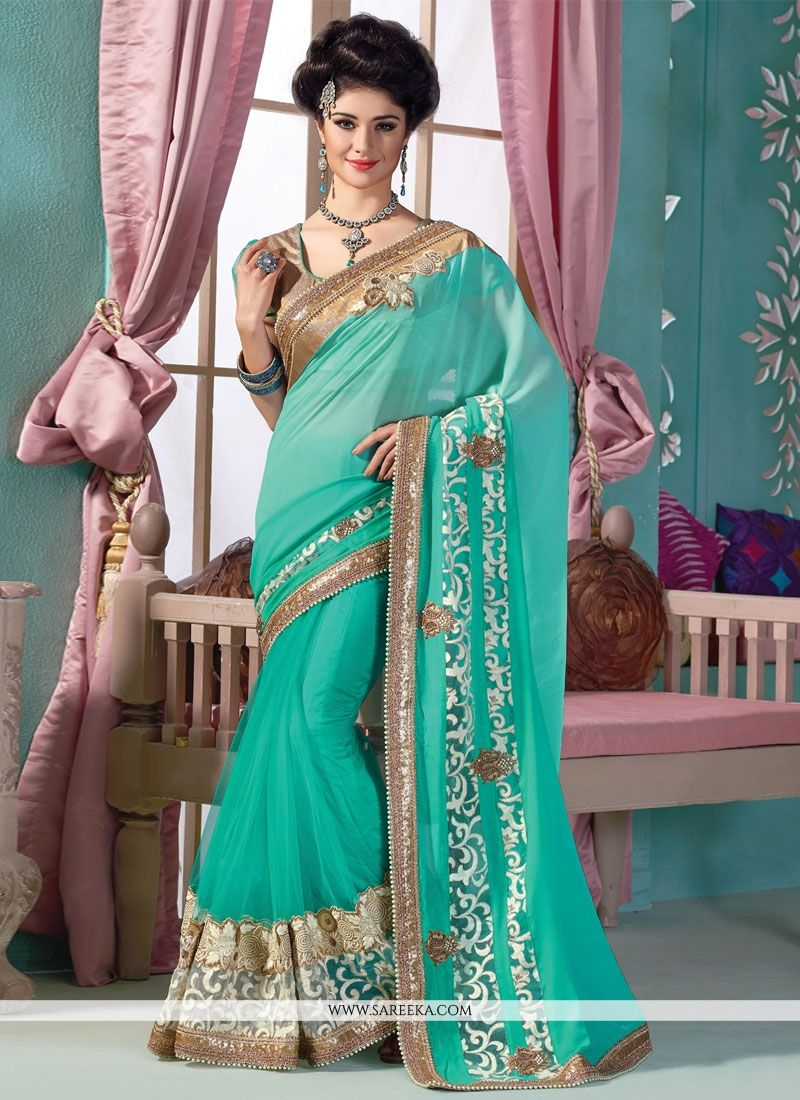 Viscose Sea Green Patch Border Work Designer Saree