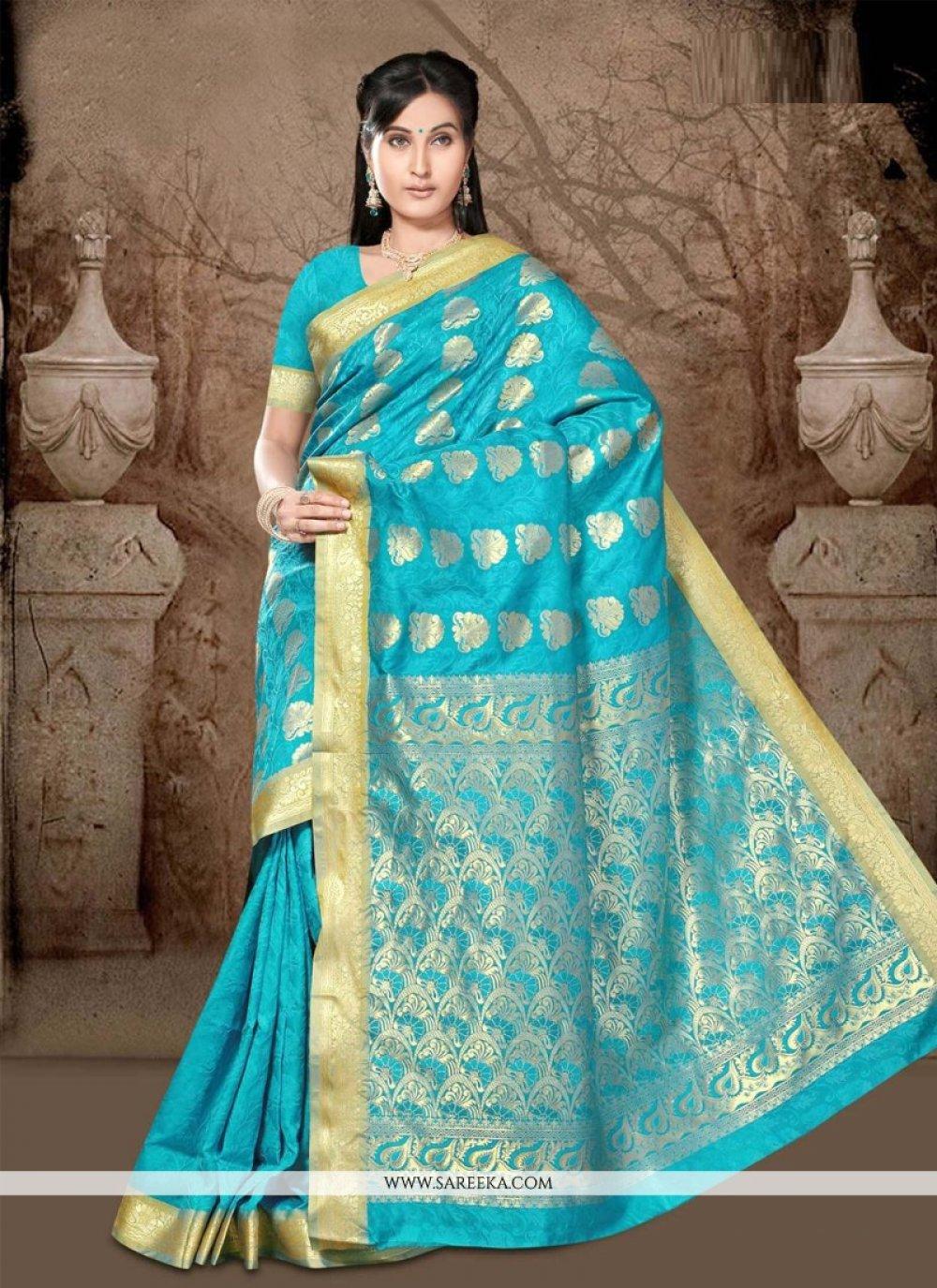 Art Silk Turquoise Casual Saree
