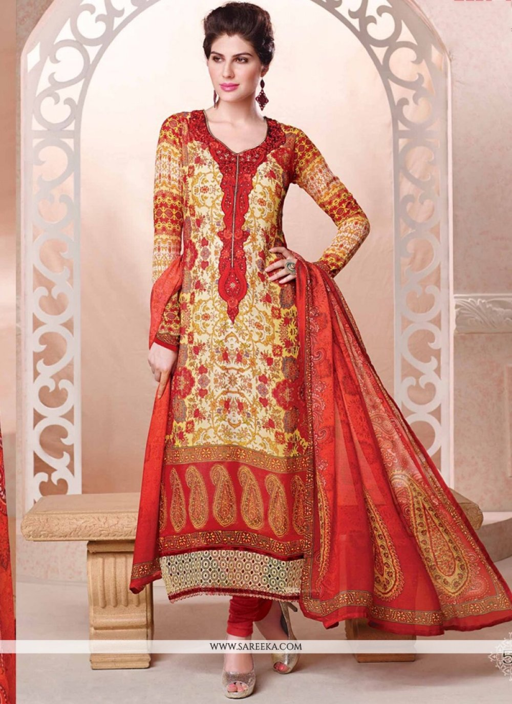 Georgette Cream and Red Lace Work Churidar Designer Suit