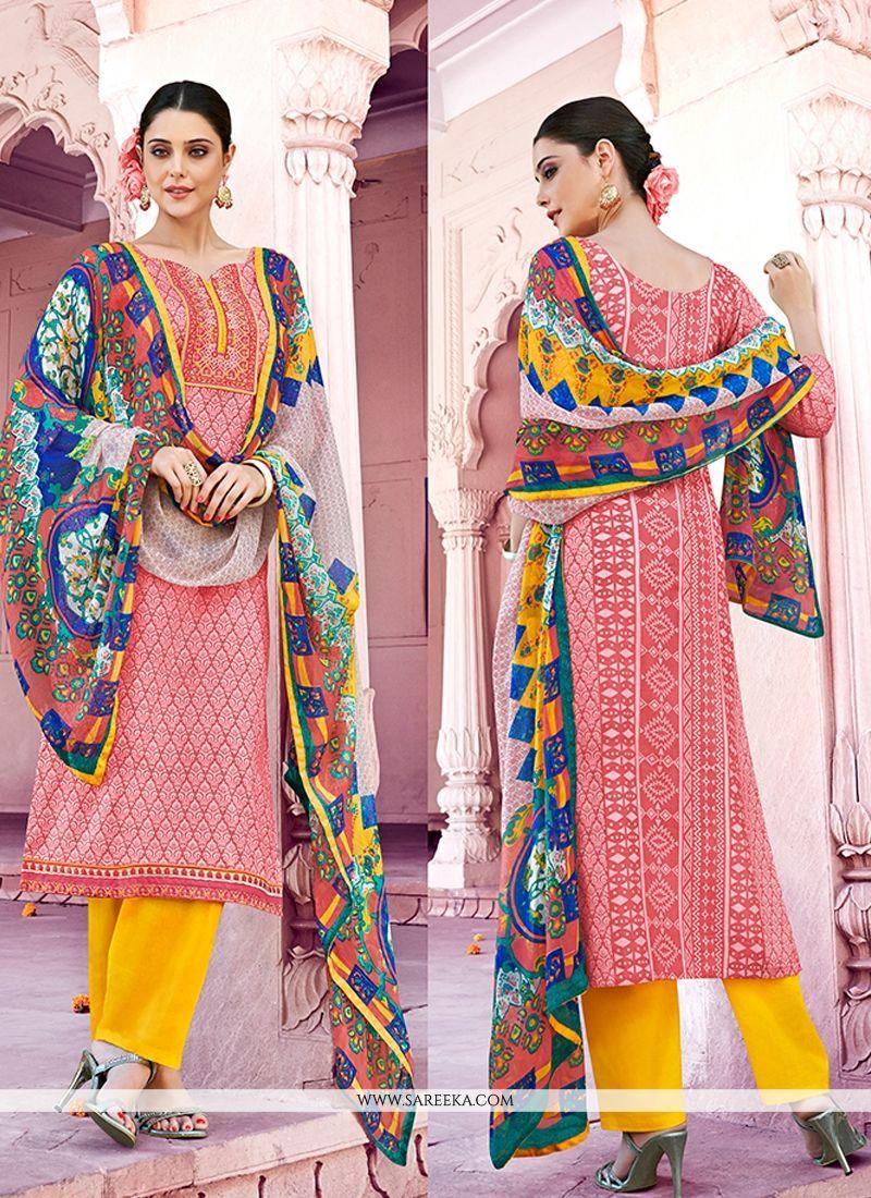 Peach Print Work Cotton   Designer Pakistani Suit