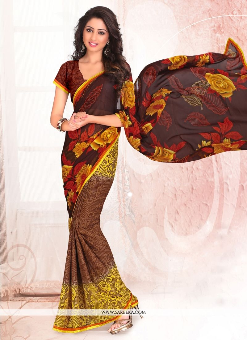 Print Work Brown and Yellow Casual Saree