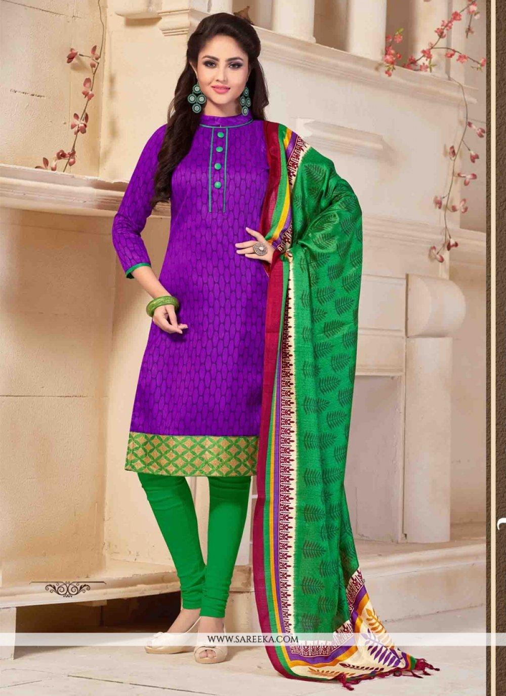 Print Work Purple Banglori Silk Churidar Salwar Kameez