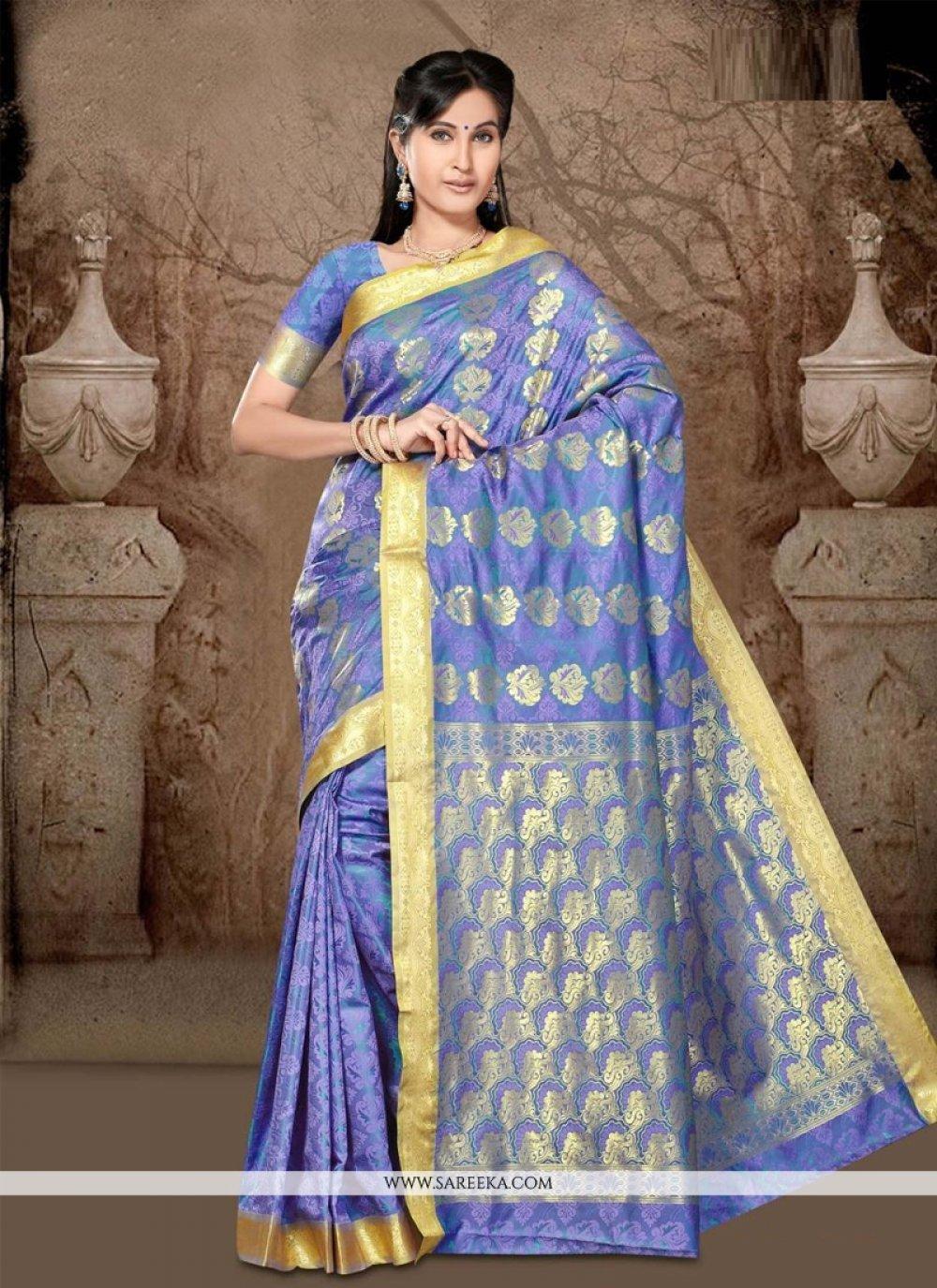 Art Silk Lace Work Casual Saree