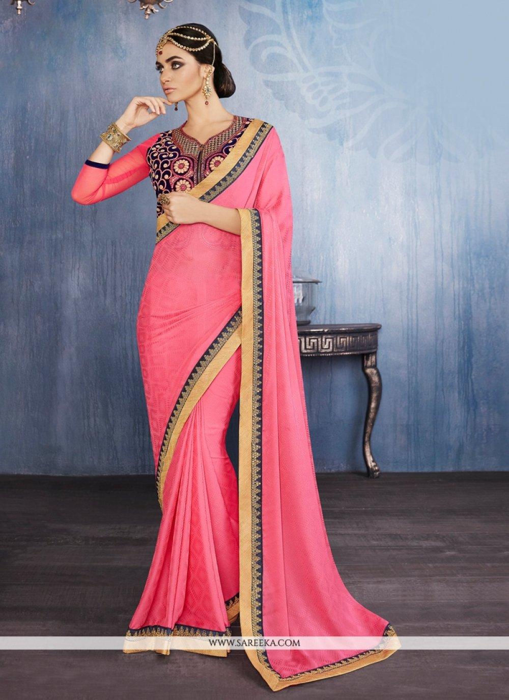 Faux Chiffon Pink Designer Saree