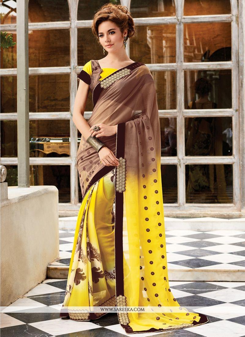 Yellow and Brown Designer Saree