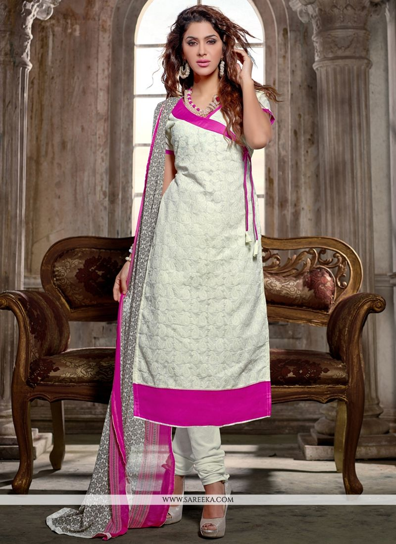 Chanderi Cotton White Print Work Churidar Salwar Kameez