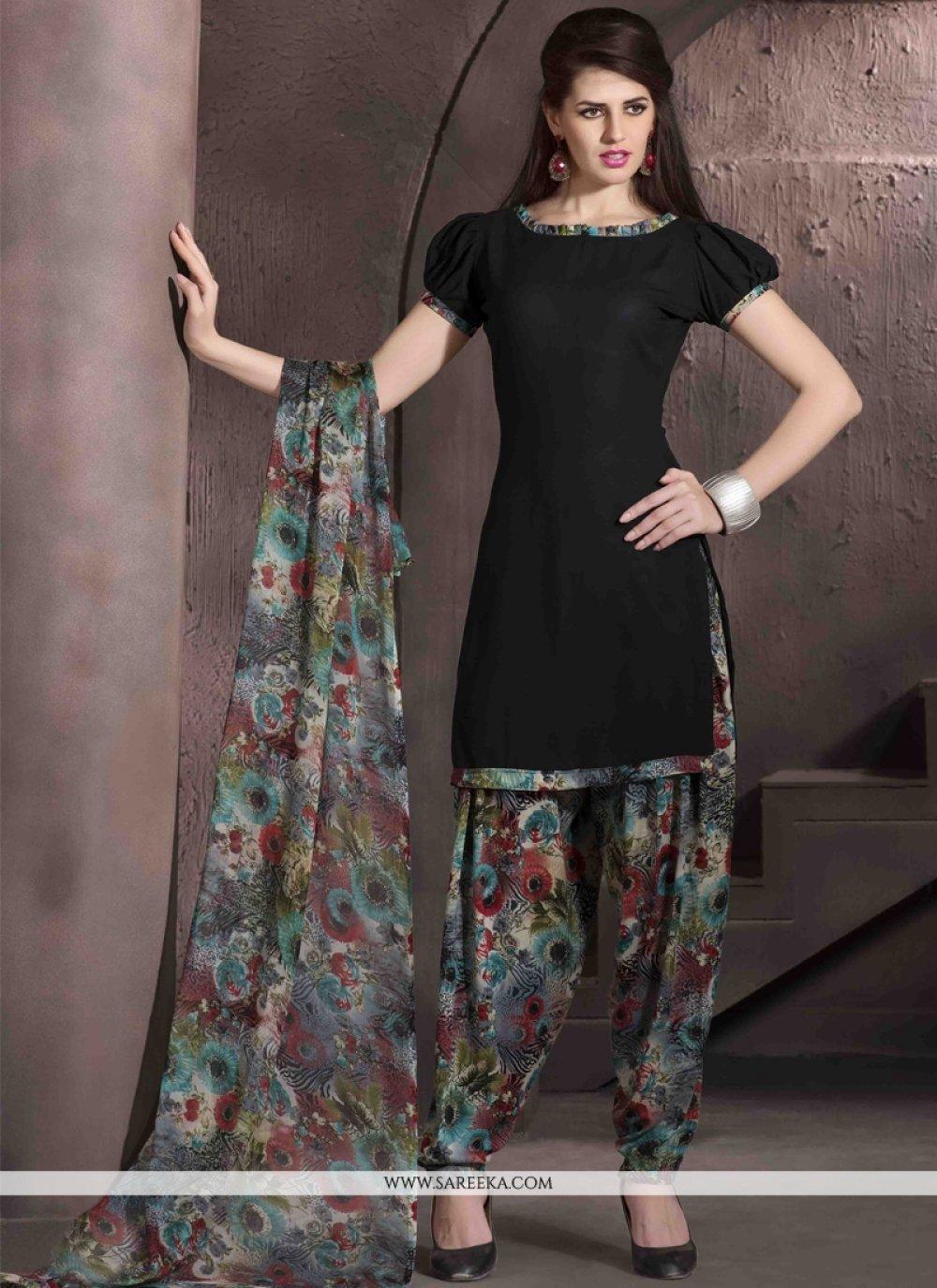 Faux Crepe Black Designer Patiala Salwar Kameez