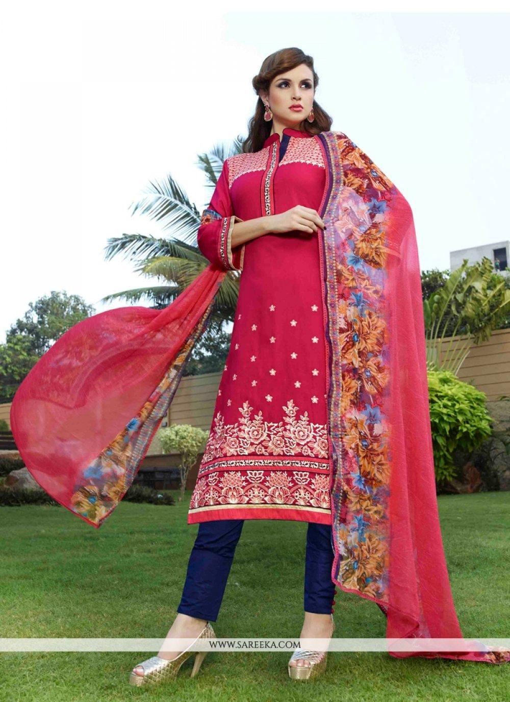 Hot Pink Embroidered Work Cotton Satin Churidar Designer Suit