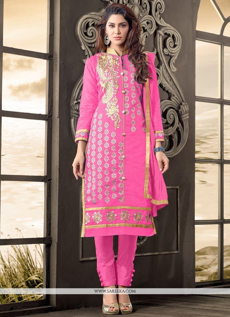 Hot Pink Zari Work Cotton   Salwar Kameez