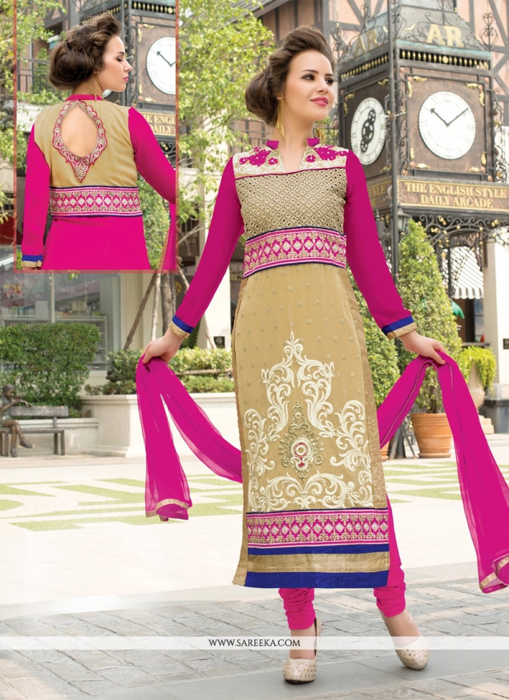 Lace Work Beige Georgette Churidar Salwar Suit