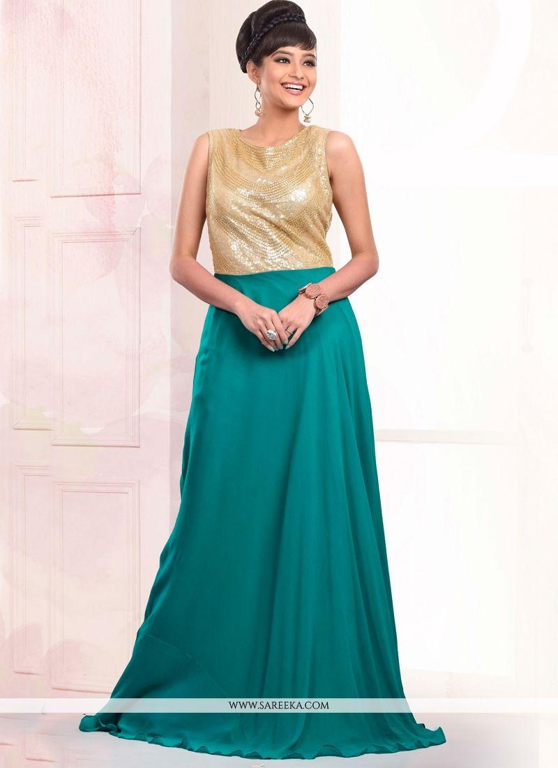 Sequins Work Faux Georgette Teal Floor Length Gown