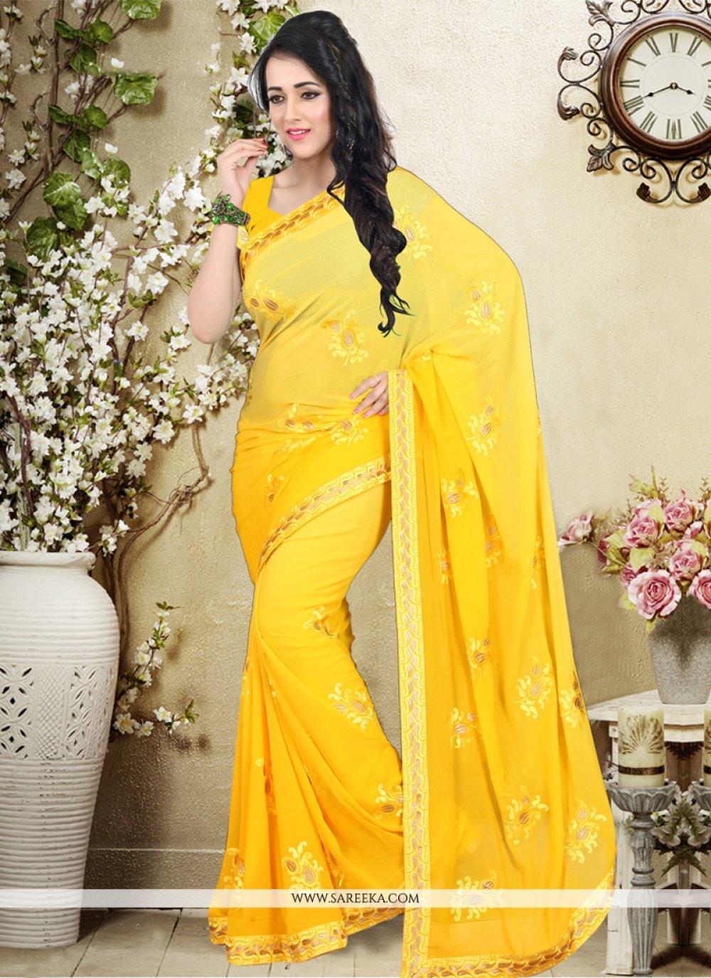 Weight Less Embroidered Work Designer Saree