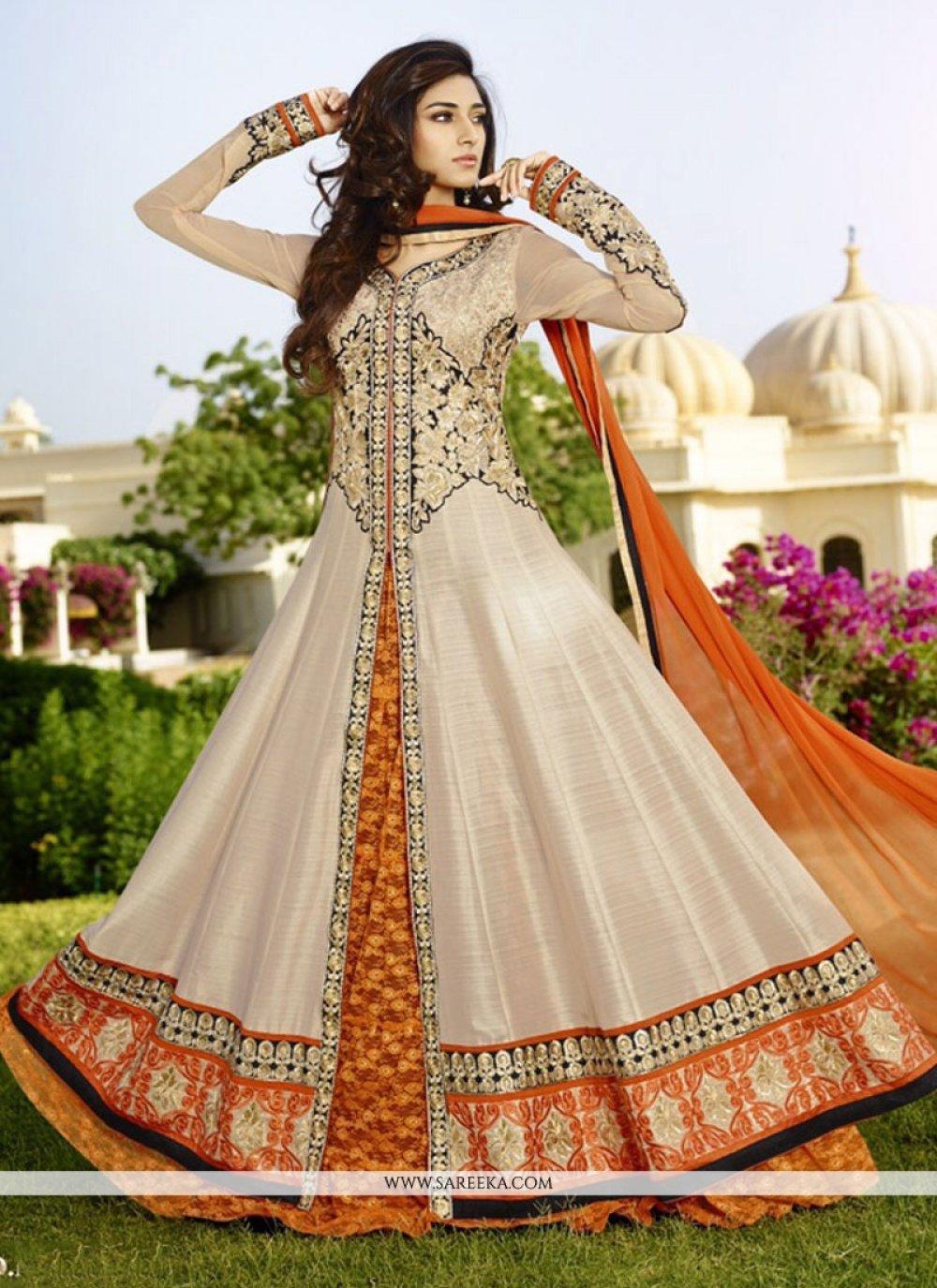 White Resham Work Floor Length Anarkali Suit