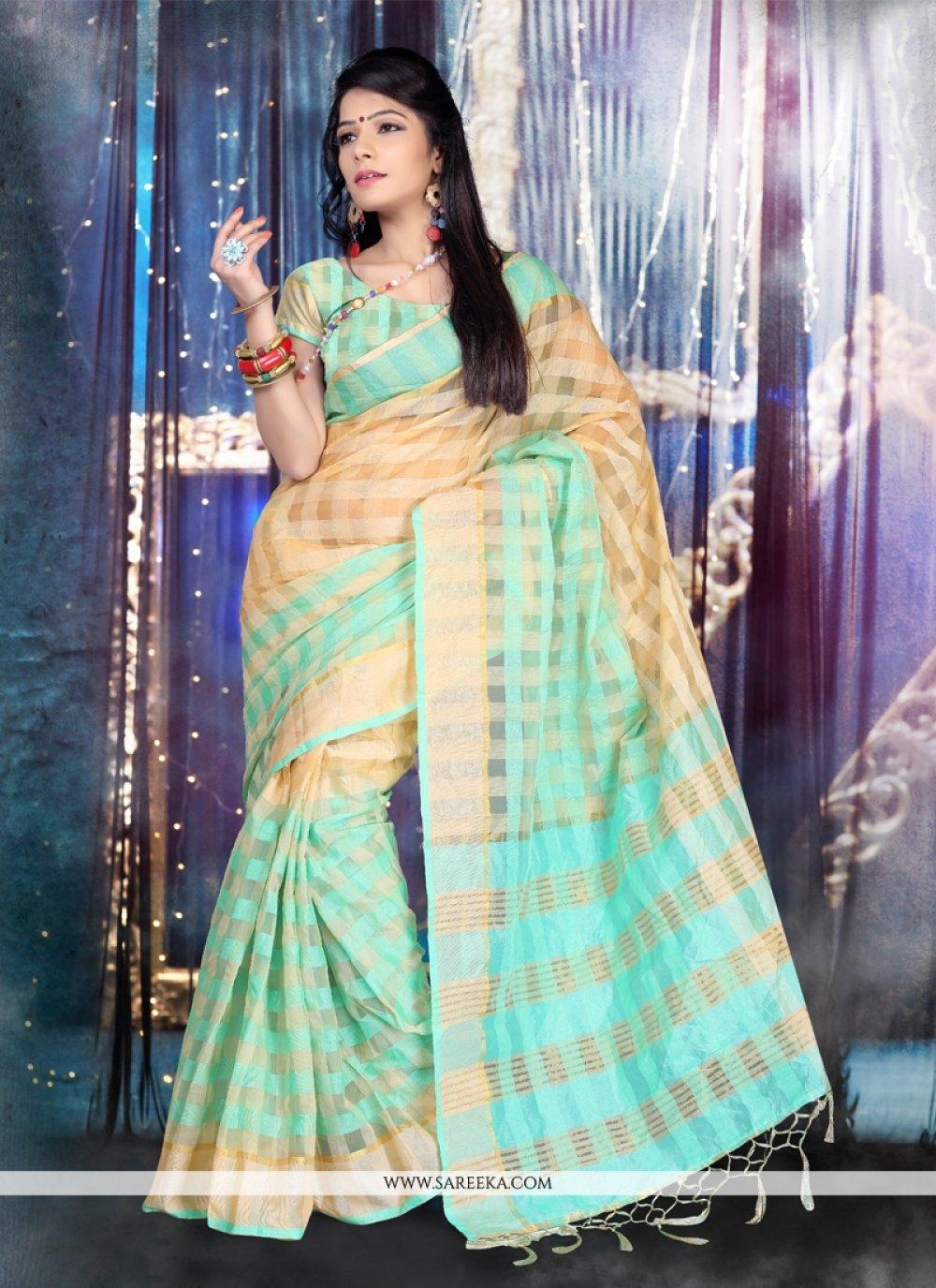 Patch Border Work Tissue Designer Saree