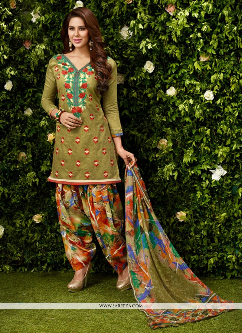 Embroidered Work Green Designer Patila Salwar Suit