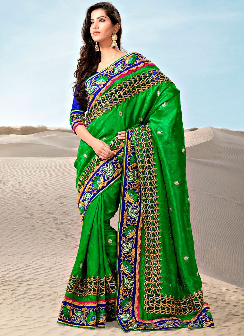 Green Jacquard Silk Saree